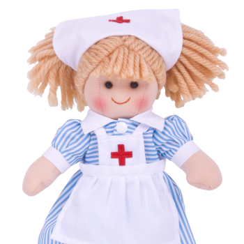 Bigjigs Nancy Nurse Rag Doll - Soft and Cuddly Toy