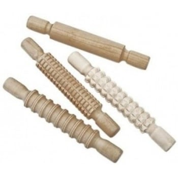 Wooden Rolling Pins, Textured, 20cm long with handles*