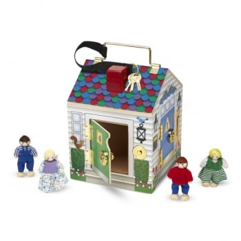 Melissa and Doug Wooden Doorbell House - Locks, Latches and Bells