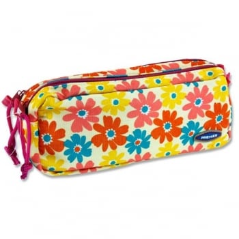 Double Zip Flowers Pencil Case