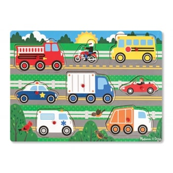Melissa and Doug Wooden Peg Puzzle - Vehicles