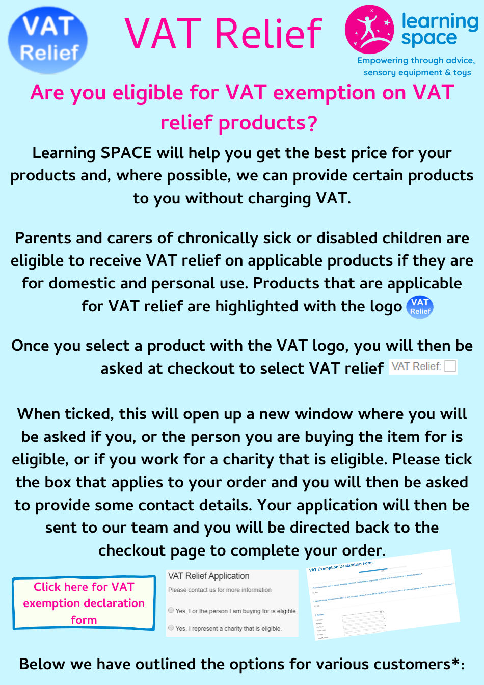 VAT Relief information updated February 2020