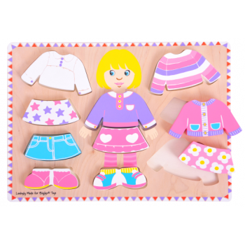Bigjigs Dressing Girl Puzzle - Matching shapes and colours game