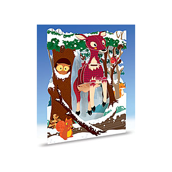 Swing Card Christmas Reindeers - 3D, interative gift card