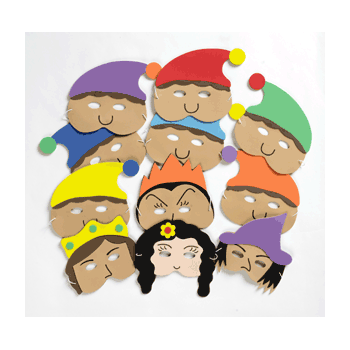 Snow White & the Seven Dwarfs Mask Set- Perfect for storytelling and roleplay