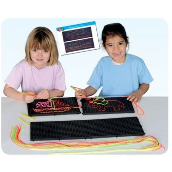 Black UV Lacing Pattern Boards Set of 4
