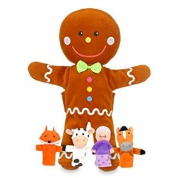 Fiesta Crafts Tellatale Gingerbread Man Hand Puppet Set with Finger Puppets