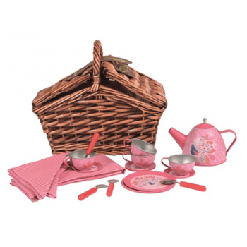 Tin Tea Set in Pink with Wicker Basket