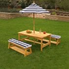 Outdoor Table and Bench Set with Cushions and Parasol*