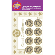 A5 Gold Certificates with Gold embossed Star Seals - Encourage positive behaviour