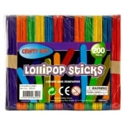 Crafty Bitz Bag of Jumbo Lollipop Sticks Coloured (200 Pcs)