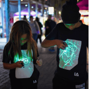 Unisex Kids Sketch Interactive Glow in the Dark T-shirts Black/Royal Blue
