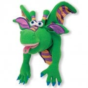Smoulder the Dragon Puppet With Detachable Wooden Rod